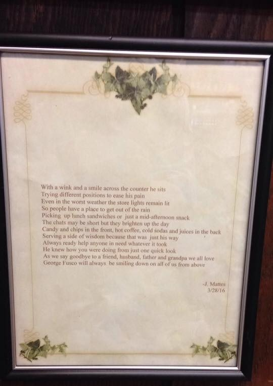 Picture of framed poem